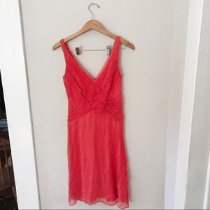 TADASHI SILK Coral Pink Ruffled Dress